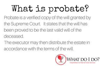 What is probate? What do I do?